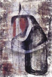 """Johanna Schütz-Wolff """"Frau am Stein"""", 1961, Monotoypie"""