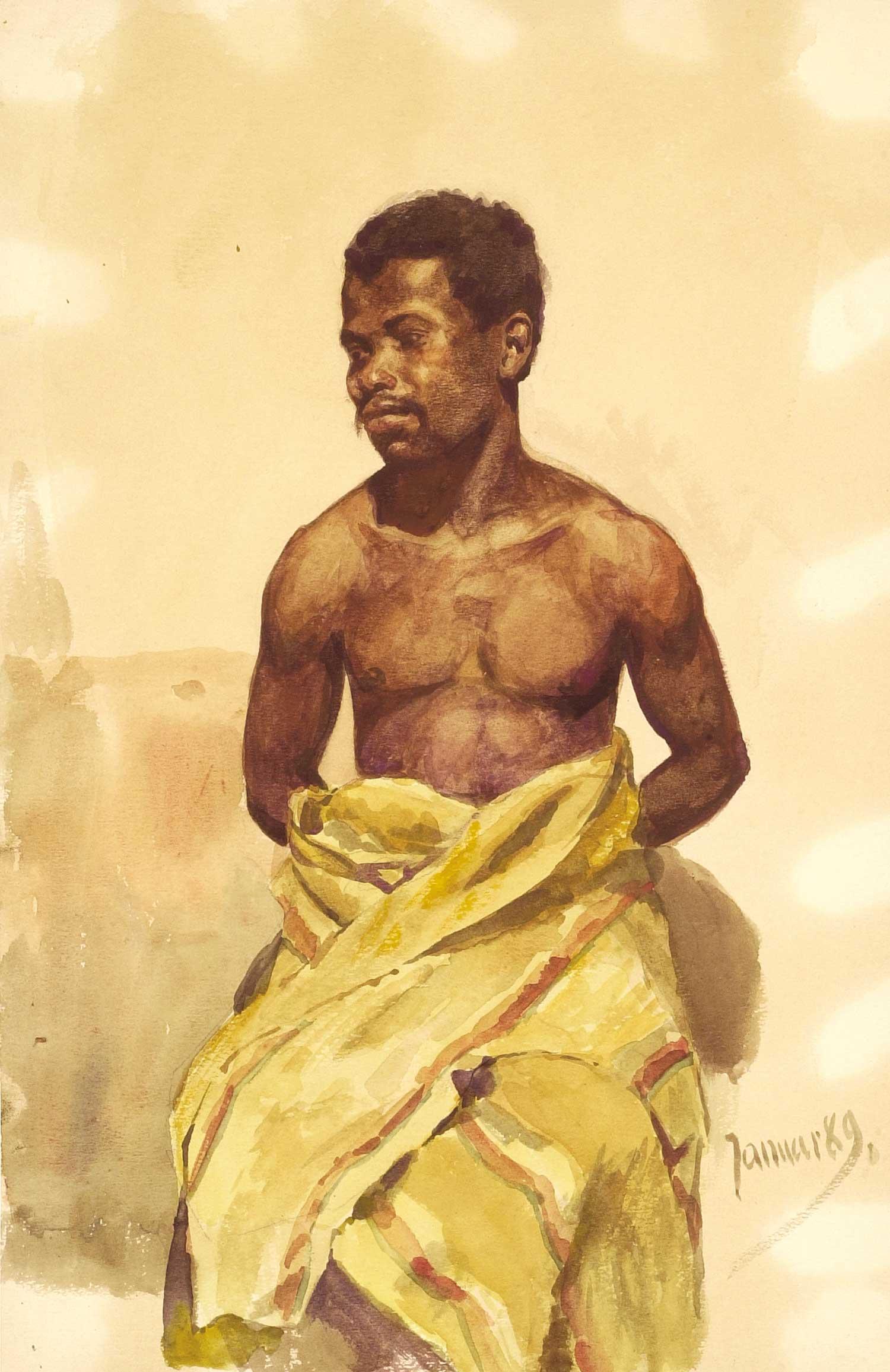 """Hans Richard von Volkmann, """"Junger Afrikaner"""", 1889, Aquarell / © Nachlass Volkmann"""