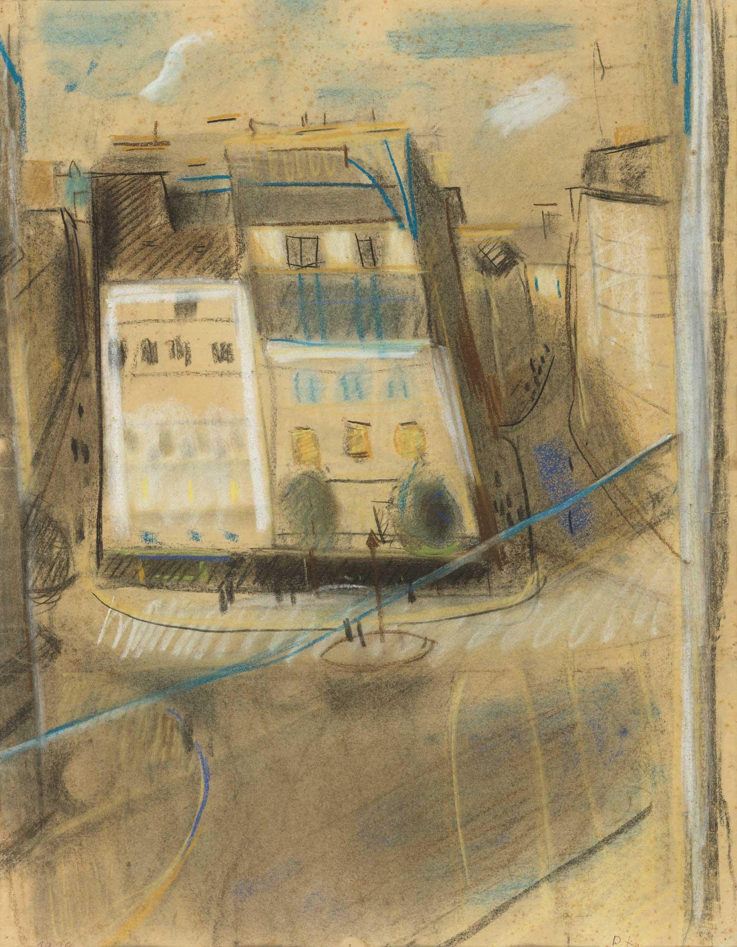 """Doris Keetmann """"Blick vom Hotel Paris"""", 1928, Pastell / © Nachlass D. Keetmann"""
