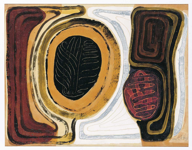 """Erwin Hahs """"Archaisch-Griechisch"""", 1931,Öl, Emaillack, Klarlack auf Papier / © Nachlass E. Hahs, Zernsdorf"""