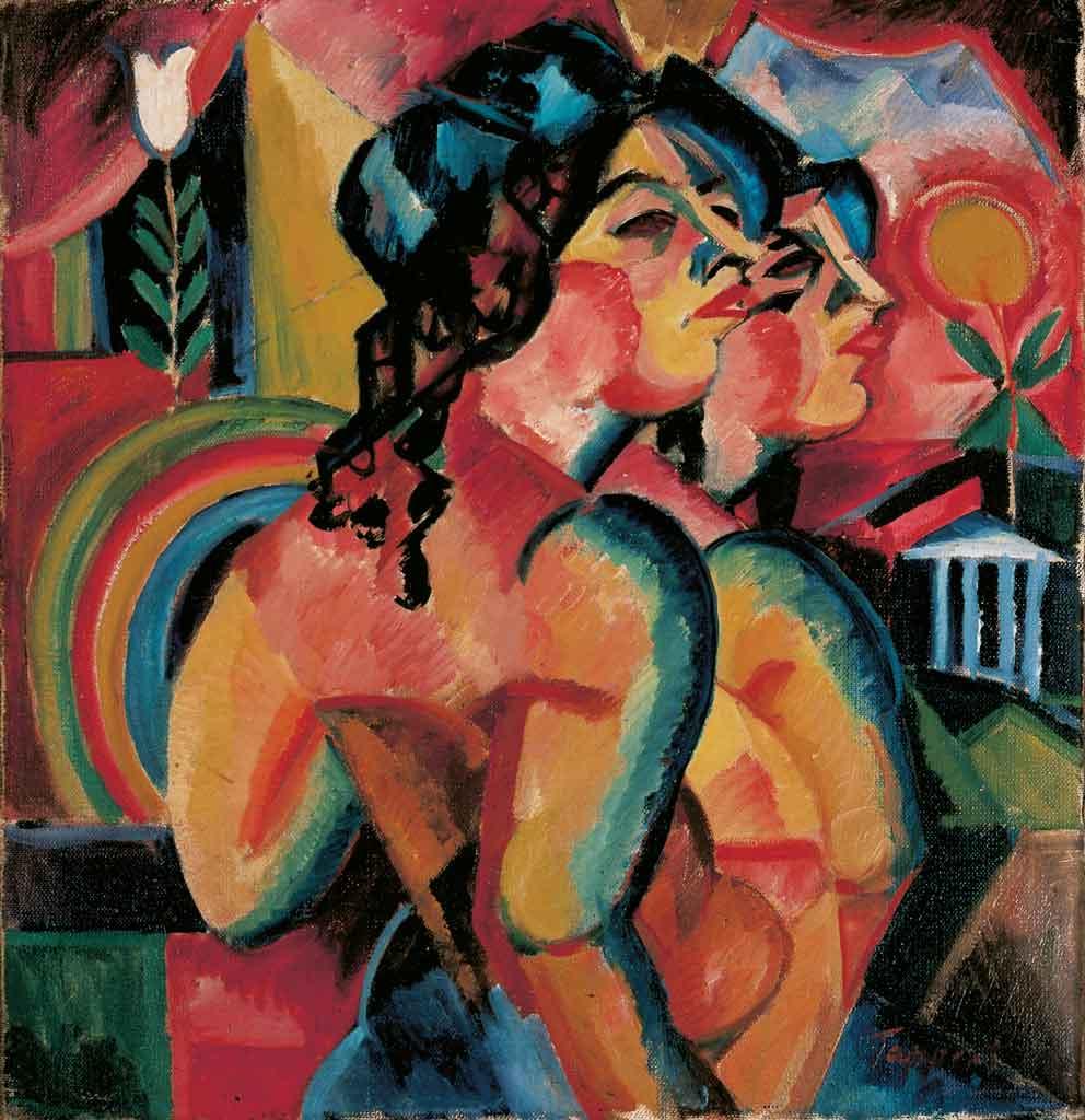 Georg Tappert, Zwei Mädchen im Profil, 1918, Öl auf Leinwand, 66 x 63 cm, Sammlung Brabant © VG Bild-Kunst, Bonn 2019
